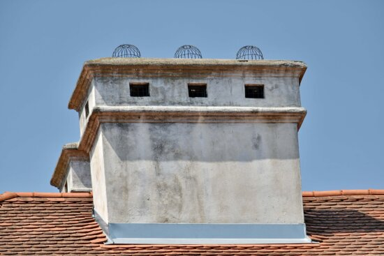 architectural style, castle, chimney, roof, architecture, old, outdoors, traditional, building, art