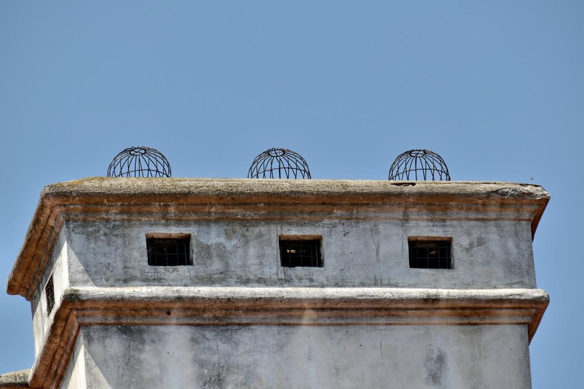 komín, staré, architektura, budova, střecha, starověké, venku, opuštěné, město, starožitnost