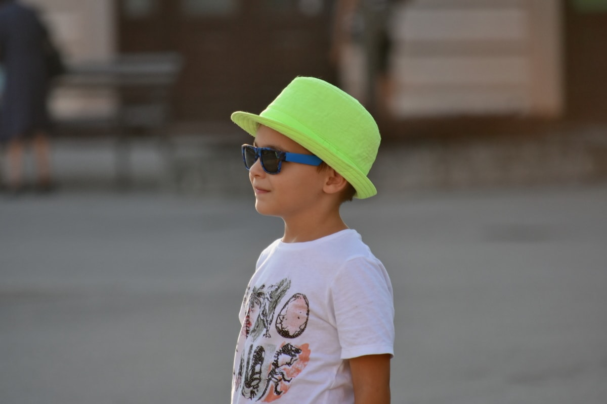 boy, enjoyment, hat, portrait, side view, street, sunglasses, person, child, people