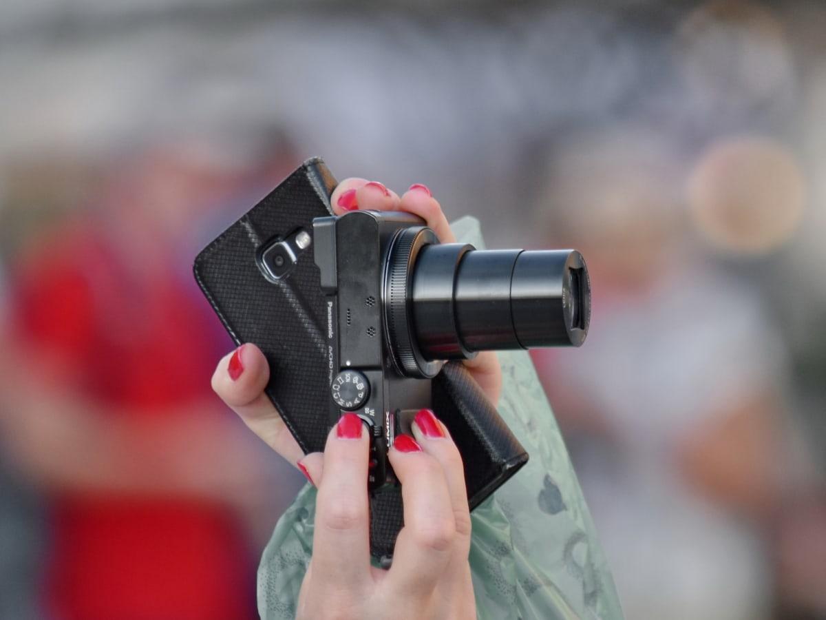 câmera, dedo, mãos, zoom, fotógrafo, lente, equipamentos, gravação de vídeo, foco, jornalista