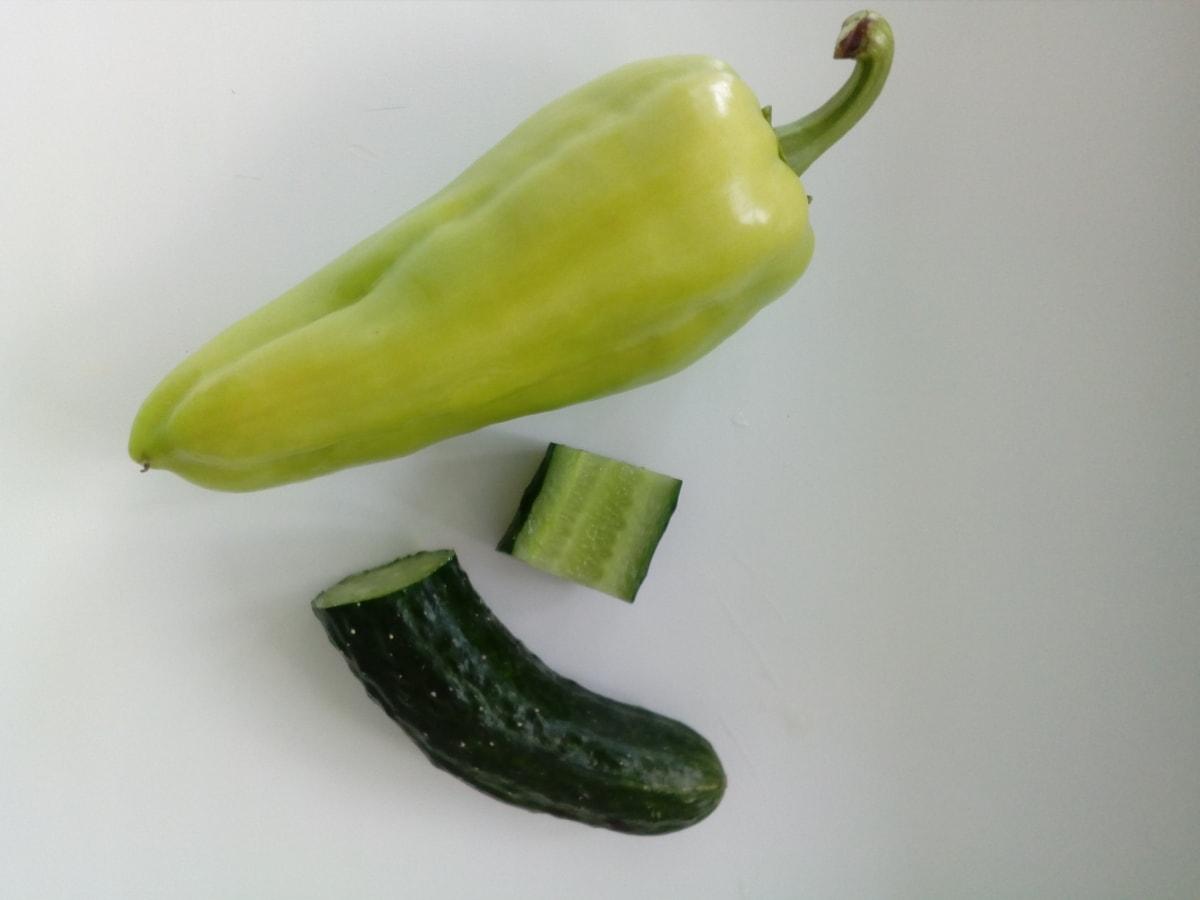 paprika, mentimun, kuning kehijauan, organik, sayuran, vegetarian, diet, kuning, sehat, sayur
