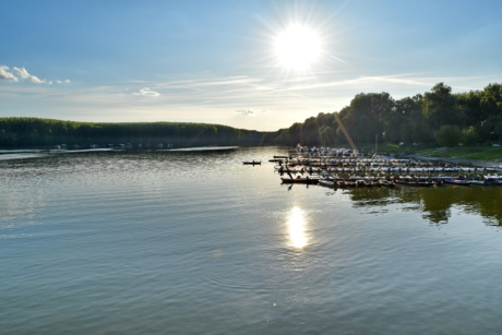 lakeside, pier, resort area, sunrays, sunshine, water, shoreline, lake, river, reflection
