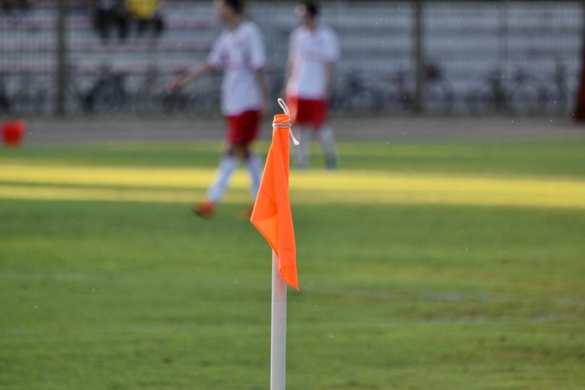 hörnet, fotboll, fotbollsspelare, idrott, gräs, flagga, fotboll, konkurrens, boll, åtgärd