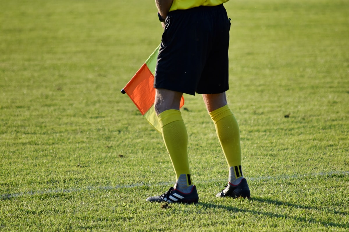 vlajka, futbal, Trávne rastliny, sudca, futbal, Šport, tráva, súťaže, štadión, hra