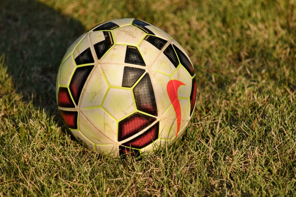 football, grass, shadow, soccer ball, ball, sport, leather, game, soccer, field