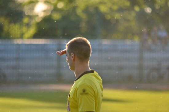 football, man, side view, sunshine, outdoors, soccer, competition, nature, blur, grass