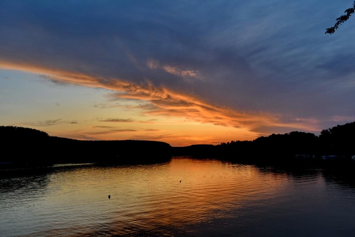 jazero, reflexie, západ slnka, pláž, slnko, svitania, voda, súmraku, večer, Príroda