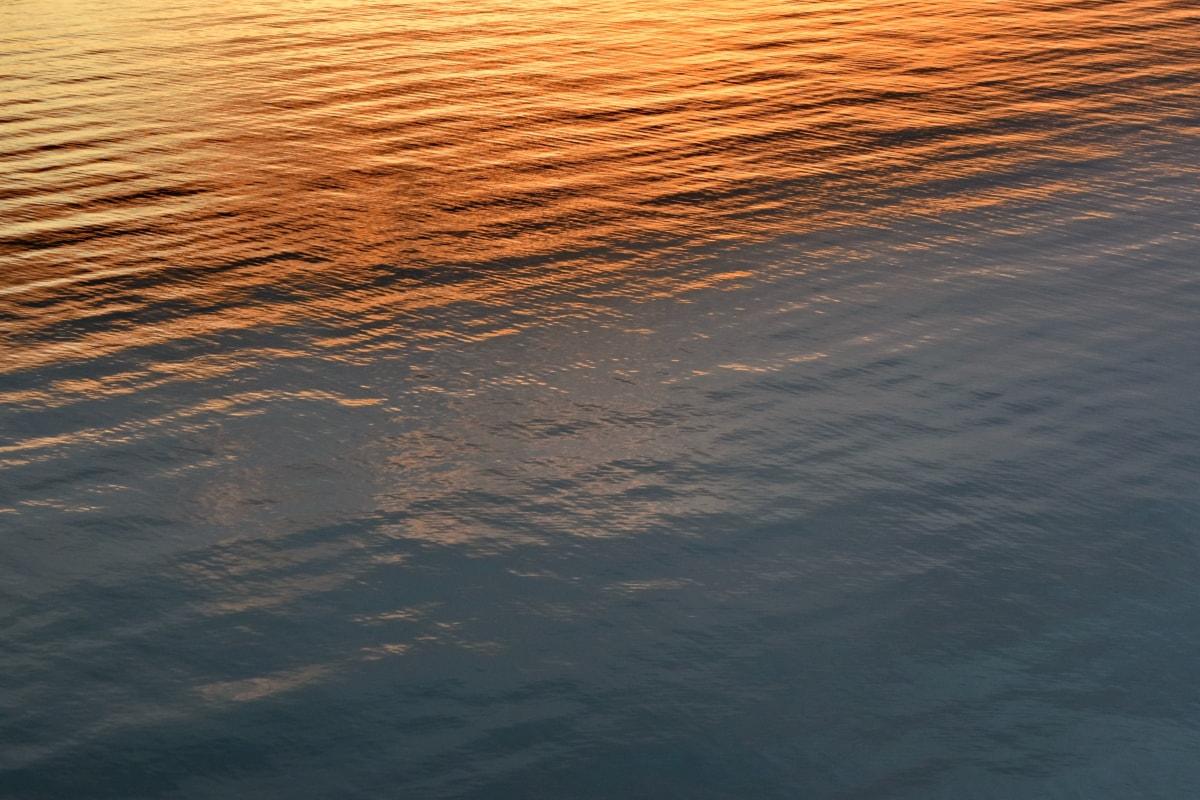 reflexão, pôr do sol, oceano, mar, água, amanhecer, onda, natureza, Ripple, noite