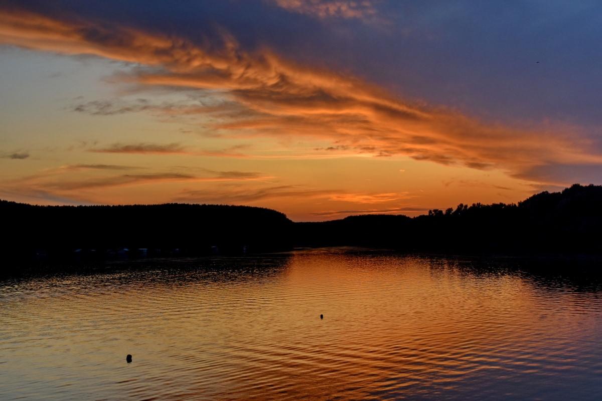 Duna-folyó, tóparti, sziluettjét, naplemente, elmélkedés, víz, táj, tó, Hajnal, strand