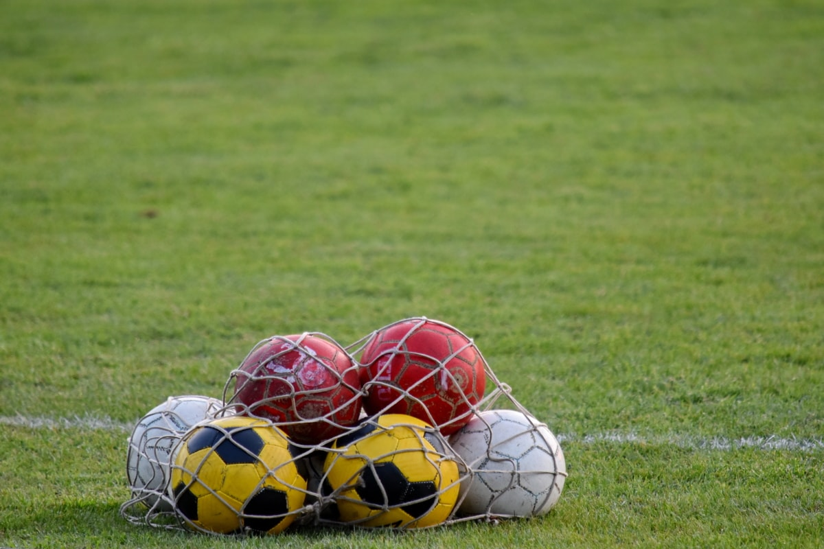 field, football, green grass, soccer ball, equipment, ball, grass, game, soccer, sport