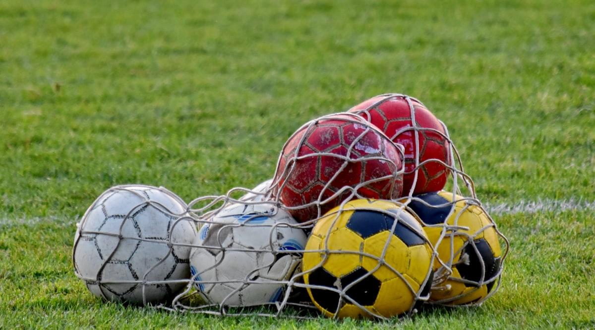 green grass, soccer ball, training program, soccer, leather, grass, game, sport, football, ball