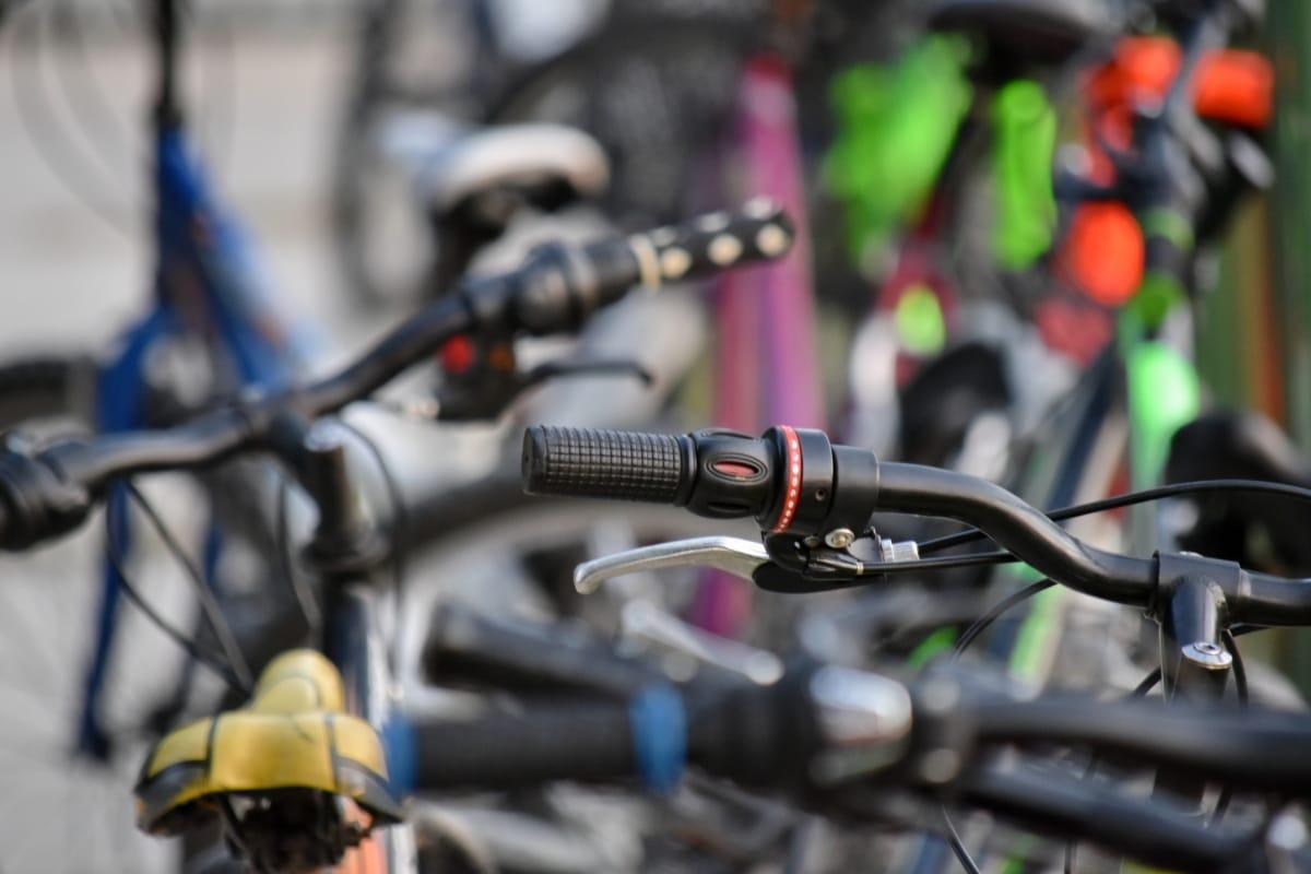 bicikala, mnogi, parkiralište, bicikl, kotač, vozila, detalj, vježba, na otvorenom, zamagliti