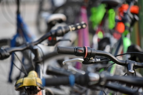 bicycle, many, parking lot, bike, wheel, vehicle, detail, exercise, outdoors, blur