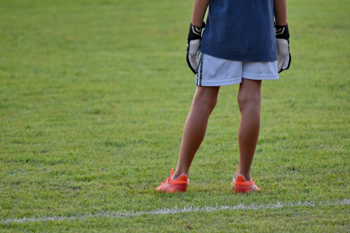 utrustning, fotbollsspelare, idrott, gräs, kul, Utomhus, barn, fritid, sommar, konkurrens