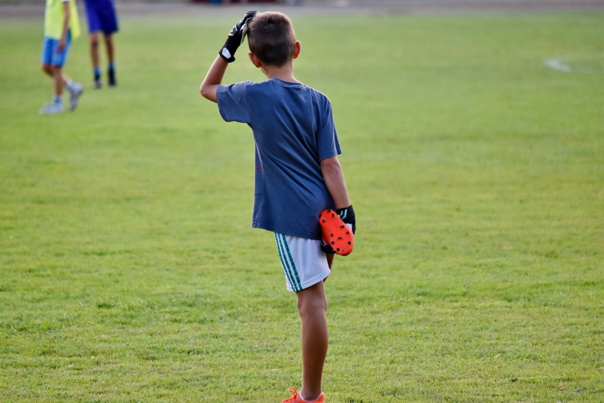 boys, football player, sport, ball, grass, active, player, competition, game, fun