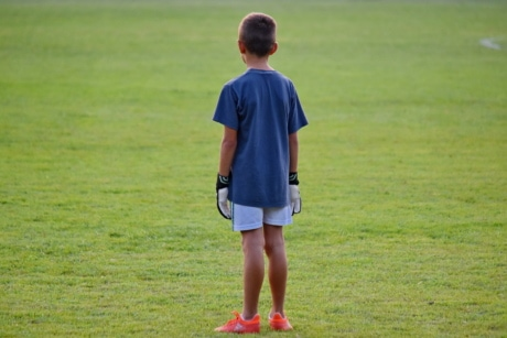 boy, child, football player, school child, soccer, sport, grass, player, athlete, summer