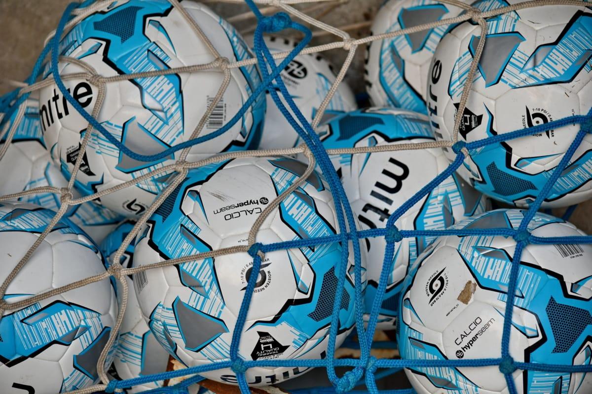 kék, hálózati, futball-labda, berendezések, művészi, műanyag, foci, kreativitás, beltéri, design