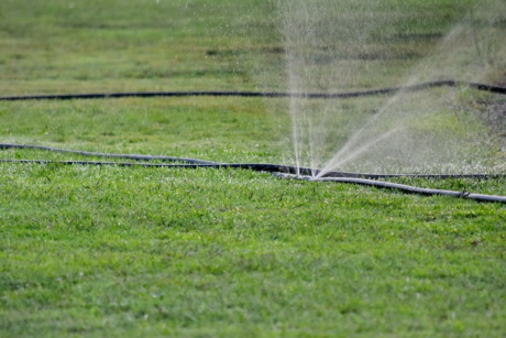 field, grass, green grass, irrigation, mechanism, lawn, device, nature, spray, agriculture