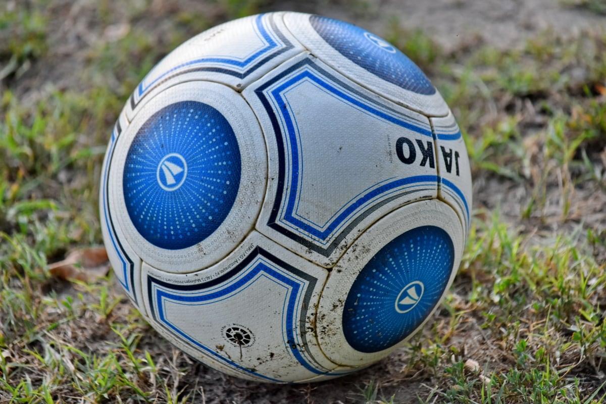 boll, smutsiga, fotboll, idrott, utrustning, fotboll, gräs, spel, fotboll, marken