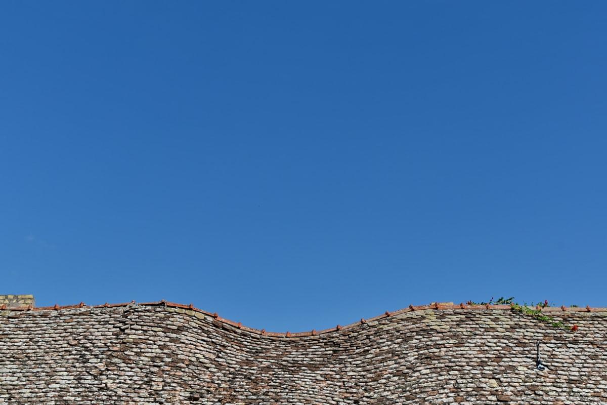 kurve, huset, gamle, taket, taket, fliser, arkitektur, blå himmel, utendørs, natur