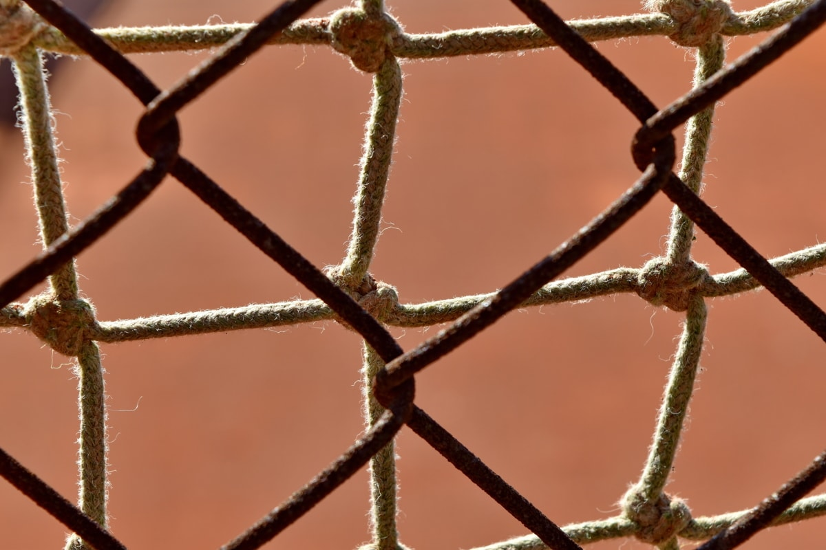 fence, fence line, material, rust, barrier, outdoors, web, iron, nature, cage