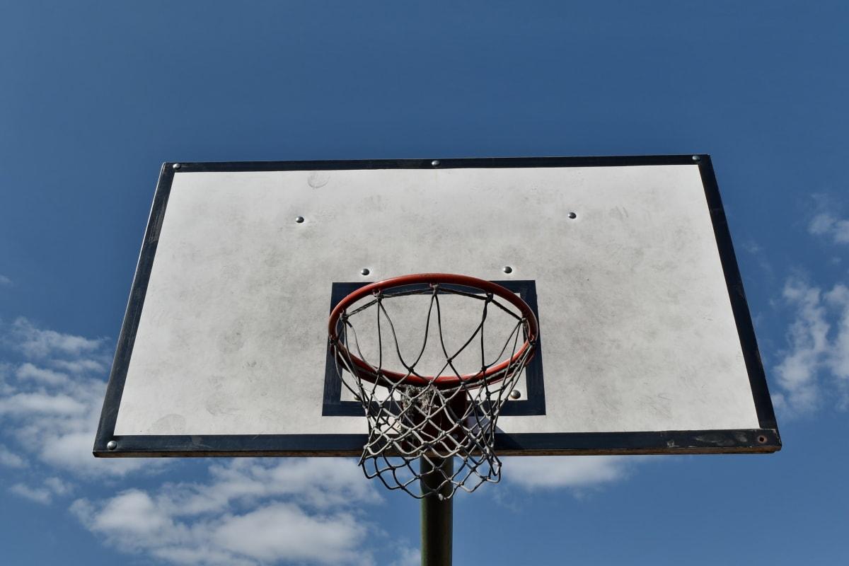 cancha de baloncesto, cielo azul, al aire libre, baloncesto, calle, web, alta, deporte, zona de juegos, al aire libre