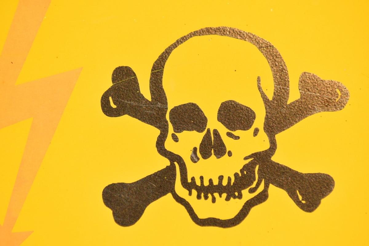 niebezpieczeństwo, energii elektrycznej, znak, Czaszka, Ostrzeżenie, ilustracja, sztuka, retro, symbol, szkic
