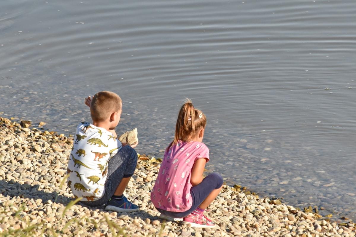 дети, дети, Счастливый, мальчик, ребенок, девушка, Fun, вода, пляж, единения