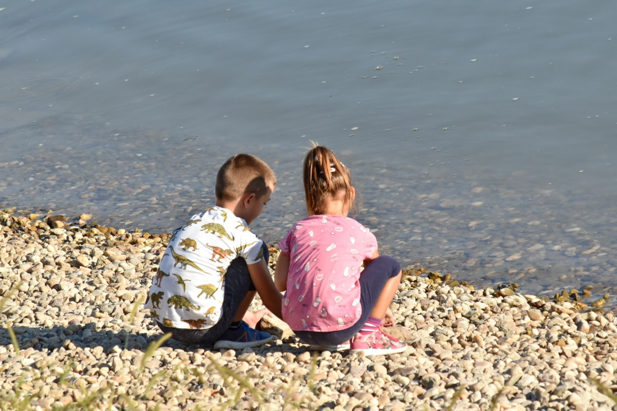 Brother, gyermekkori, nővér, strand, gyermek, szülő, víz, szórakozás, lány, homok