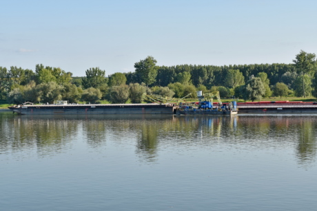 barge, boats, channel, riverbank, vehicles, water, river, watercraft, vehicle, reflection