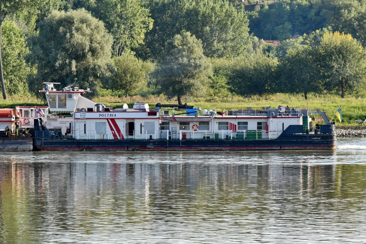 barcaza, carga, buque de carga, orilla del río, Río, agua, barco, nave, motos de agua, vehículo
