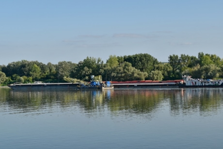 barge, cargo ship, river, water, watercraft, boat, shore, vehicle, reflection, canal