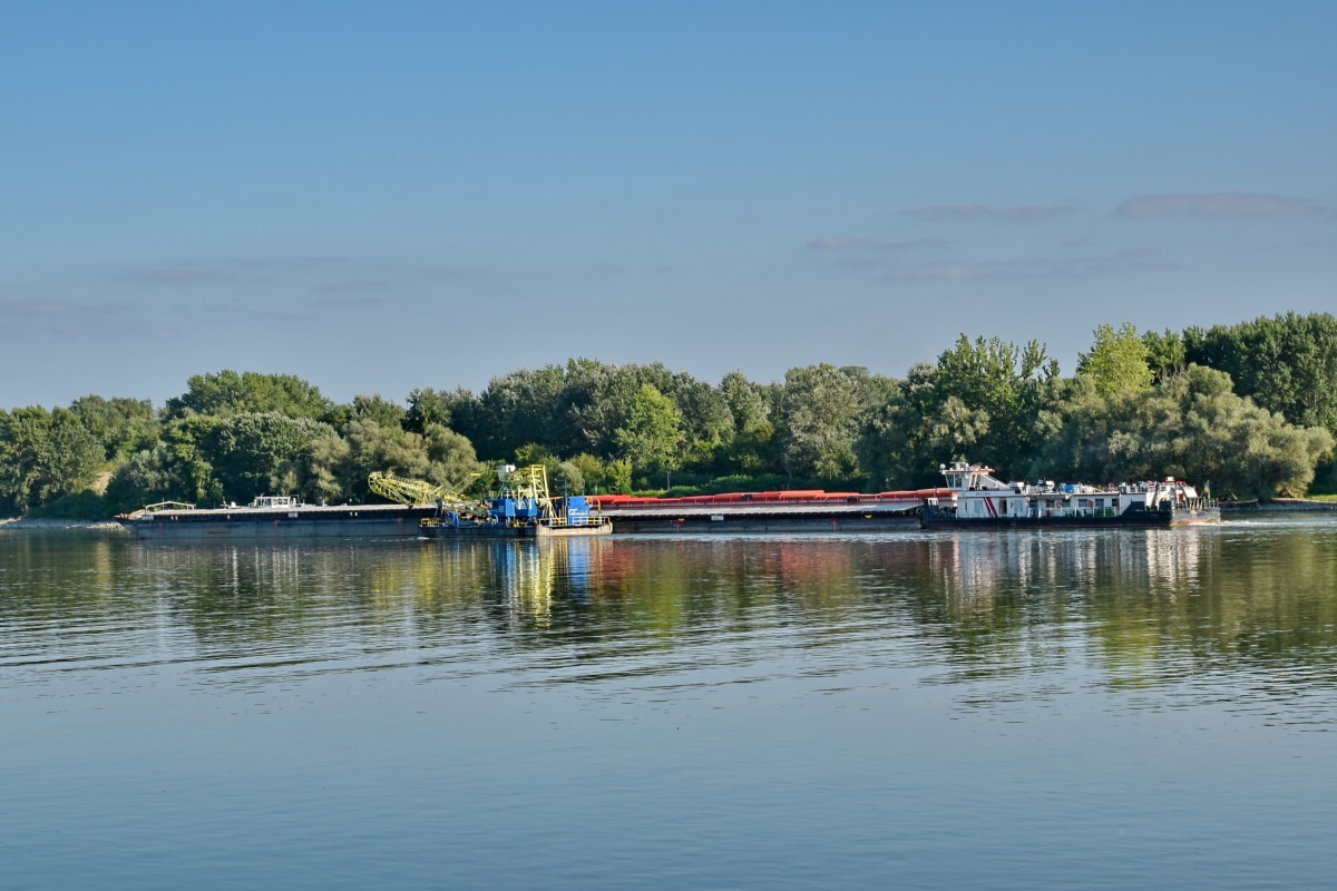 cargo ship, Danube, riverbank, transport, boathouse, shed, shore, water, boat, reflection