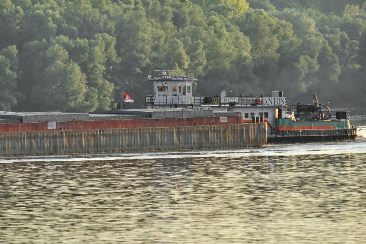 kargo, kapal kargo, pengiriman, air, Sungai, perangkat, kendaraan, industri, perahu, di luar rumah