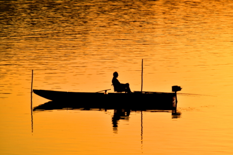 fishing boat, fishing gear, man, shadow, sunset, dawn, reflection, boat, water, fisherman