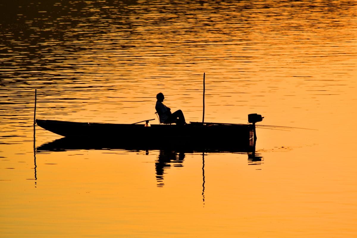 Łódź, spokoju, Rybak, relaks, sylwetka, zachód słońca, wiosło, Jezioro, wody, świt