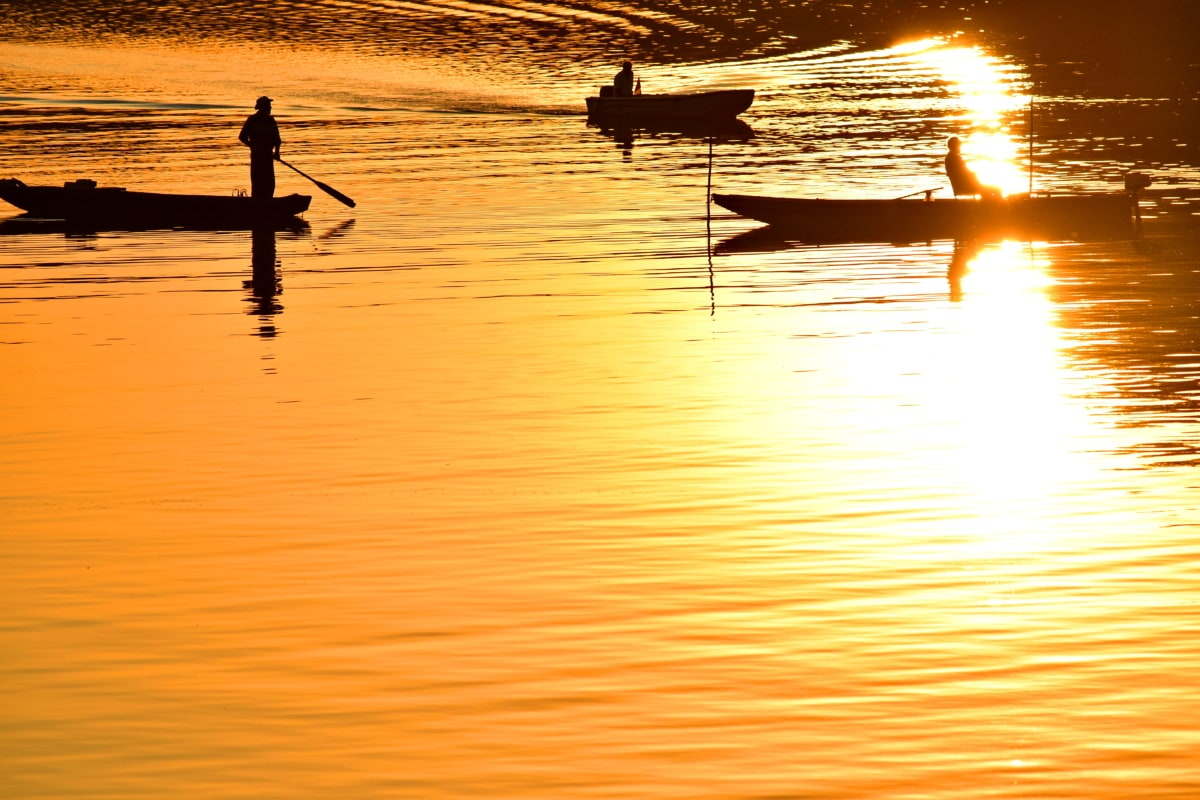 tàu thuyền, ngư dân, bóng tối, hoàng hôn, nước, Bình minh, phản ánh, hình bóng, hồ nước, mặt trời