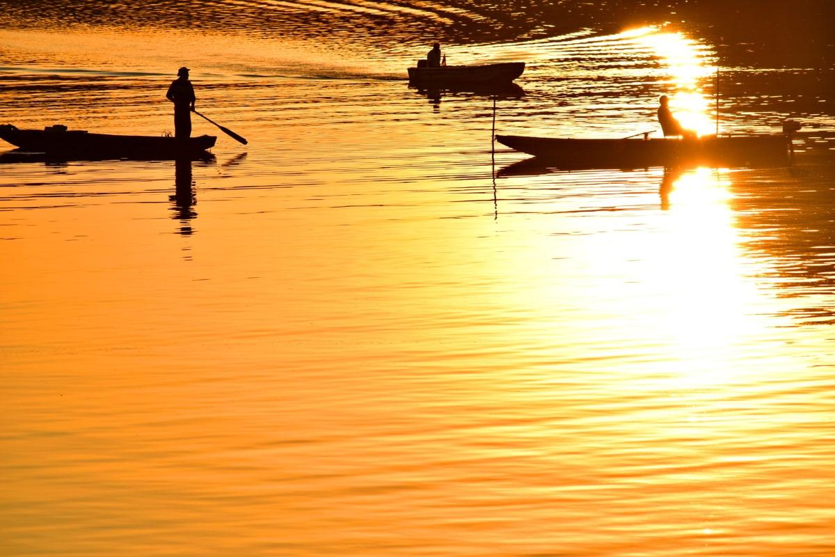 boats, fisherman, shadow, sunset, water, dawn, reflection, silhouette, lake, sun