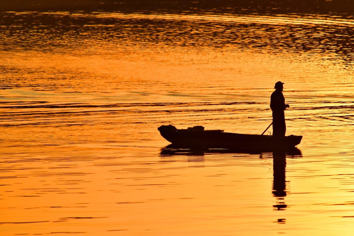 arkadan aydınlatmalı, karanlık, akşam, balıkçı, Turuncu Sarı, siluet, günbatımı, Şafak, yansıma, kürek