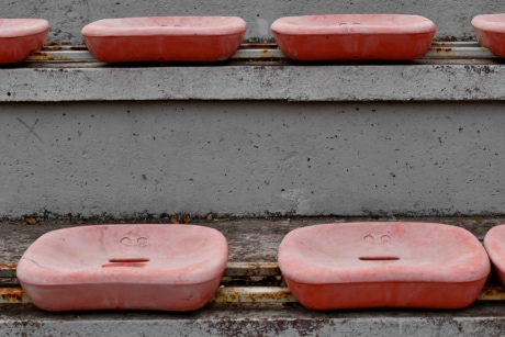concrete, seat, urban area, color, street, wall, old, urban, architecture, abandoned