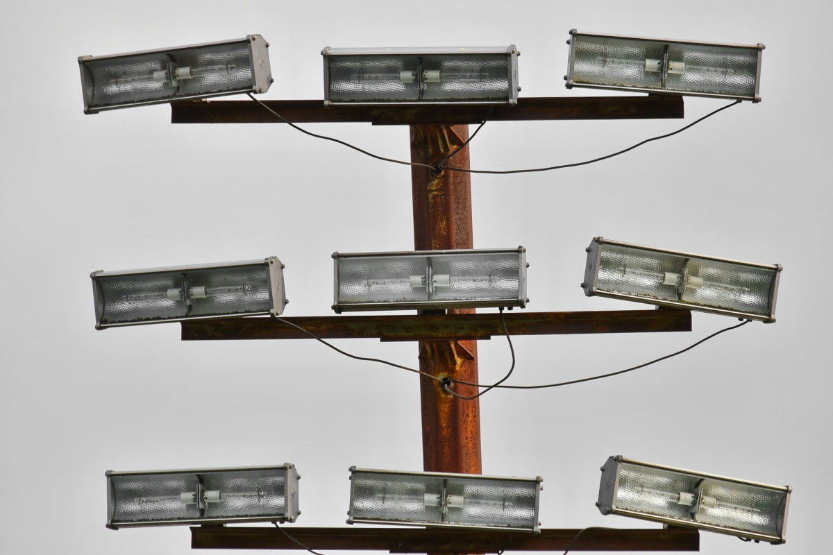 kabel, výška, reflektor, zařízení, zařízení, technologie, elektřina, televize, lampa, vysoká