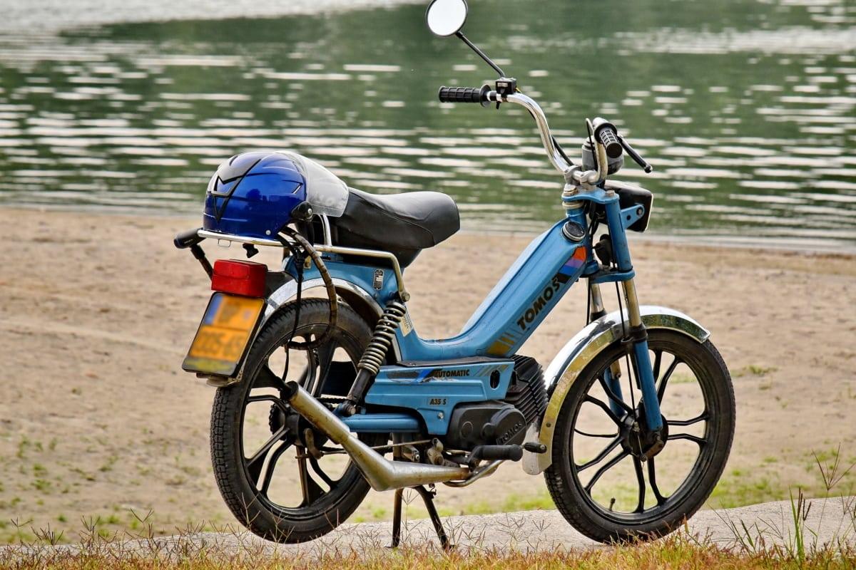 moped, folyóparton, nyári idő, kerék, minibike, ciklus, kerékpár, motorkerékpár, kerékpár, motorkerékpár