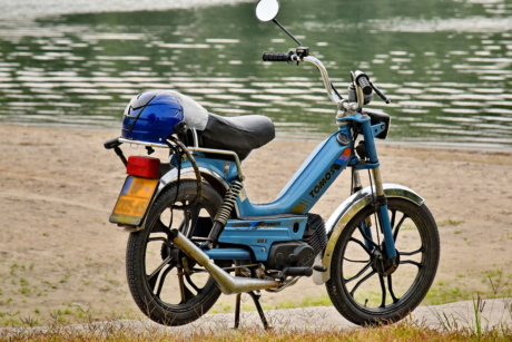 moped, riverbank, summer time, wheel, minibike, cycle, bicycle, motorcycle, bike, motorbike