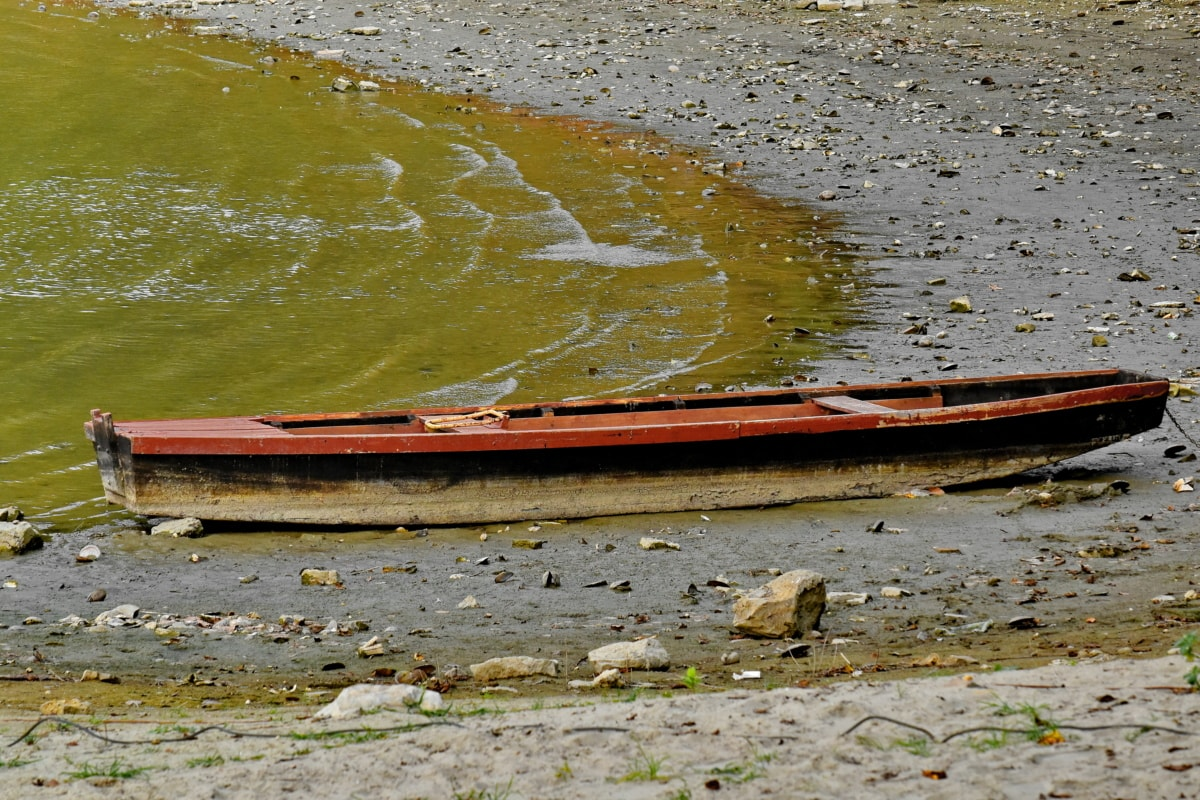 abandoned, old, boat, water, river, beach, nature, lake, reflection, wood