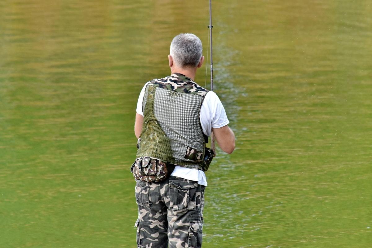berendezések, Halász, repülési halászat, táj, szakmai, ember, szabadidő, szabadidő, fű, szabadban