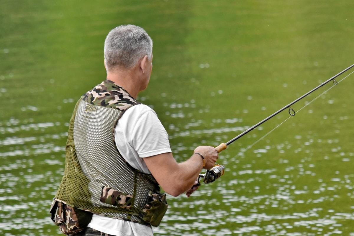 Рыбак, орудия лова, ужение на муху, пейзаж, профессиональные, Река, Спорт, вода, досуг, человек