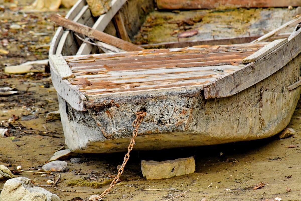 elhagyott, strand, fogszuvasodás, elhagyott, hajó, régi, kézműves, fa, roncs, csónak