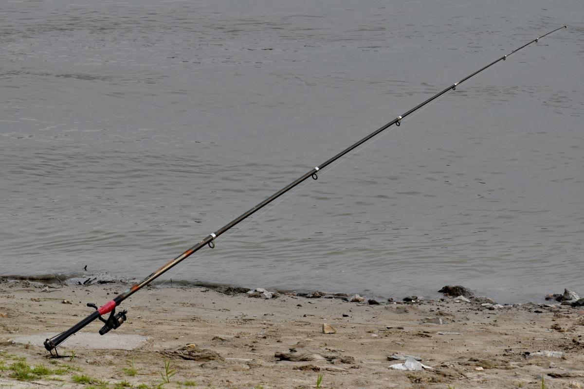 fishing gear, fishing rod, riverbank, water, fish, beach, leisure, angler, sand, recreation
