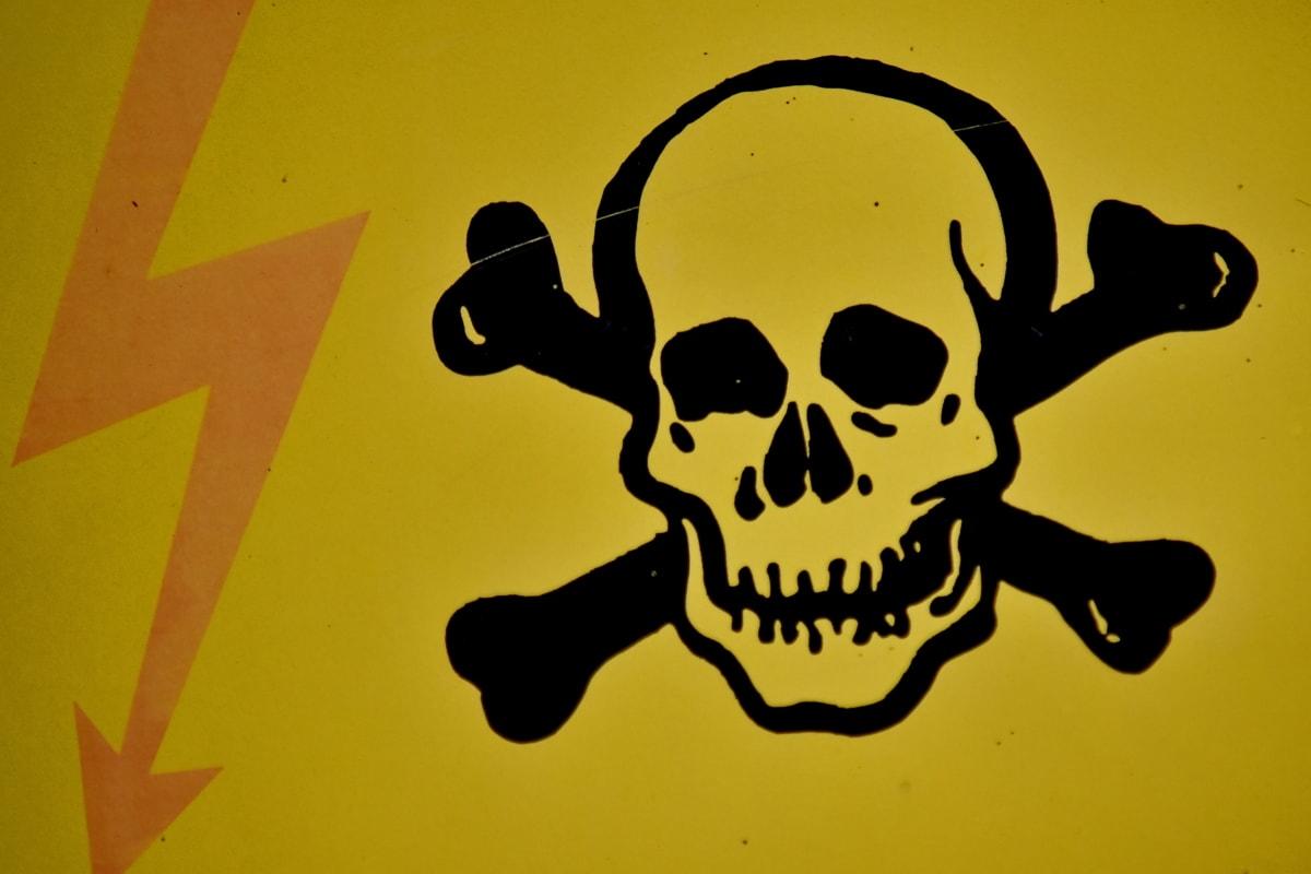 kosti, opasnost, električna energija, znak, Lubanja, napon, Upozorenje, umjetnost, retro, prljavi