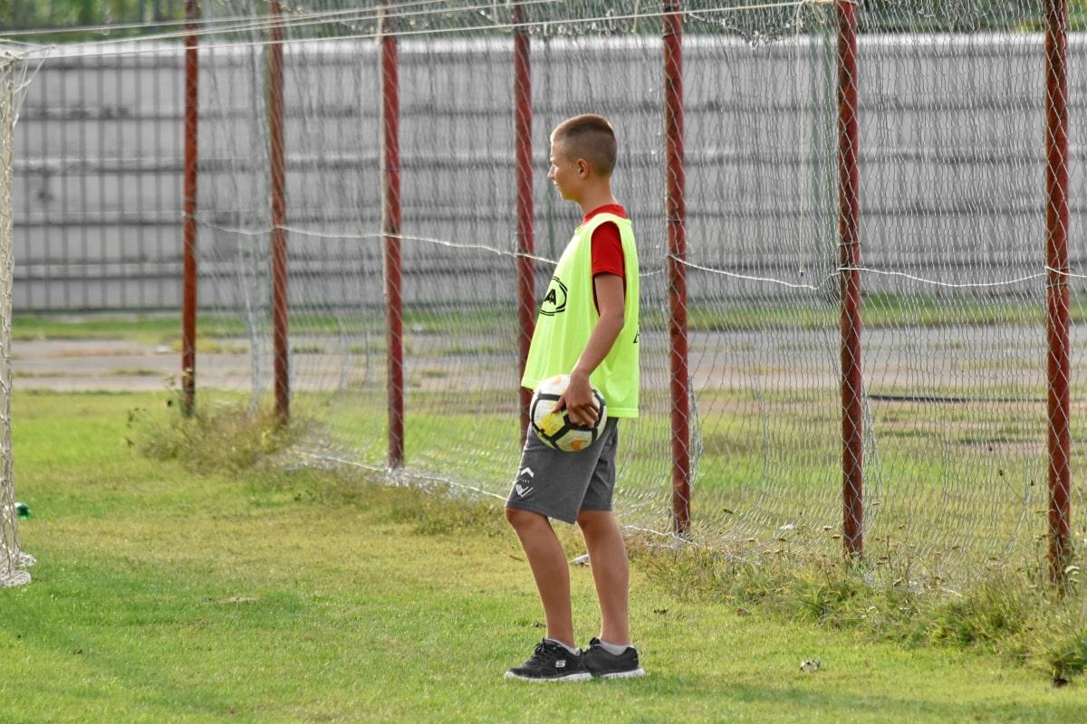 Dreng, fodboldspiller, sport, græs, udstyr, konkurrence, motion, fodbold, udendørs, rekreation